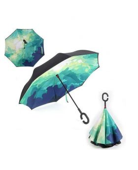 Fashionable Mixed 3D Printed Inverted Double Layer C-Hook Umbrella