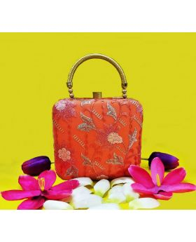 "Orange ""Lotus"" Elite Clutch"