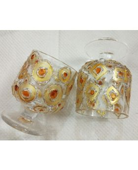 golden glitter shape decorative shot glass