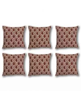 Six Pieces Cushion Cover Set Brick Red