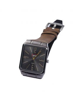 Signature ST02201-0051 Stainless Steel Leather  Belt Analogue Watch For Men