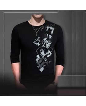 Black Full Sleeve Cotton T-Shit For Men