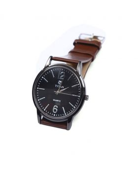 Titan TT02101-0065 Stainless Steel  Leather  Belt Analogue Watch For Men