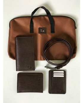Elegant Brownish Leather Carry Bag, Belt, Long Wallet, Normal size Wallet & Card Holder Combo