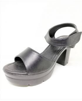 Black PU Leather Sandal with Back Heel for Women