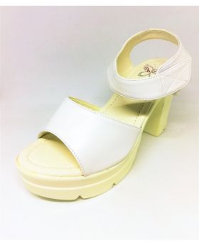 White PU Leather Sandal with Back Heel for Women