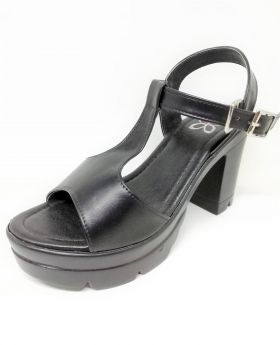 Stylish Black PU Leather Sandal with Back Heel for Women