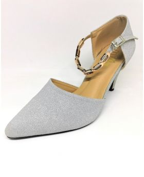 Silver Synthetic Shoe with Back Heel for Women