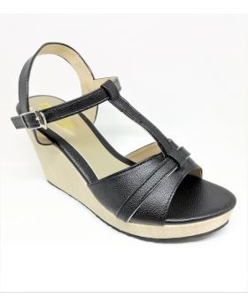 Black Artificial Leather Sandal with Block-Heel for Women