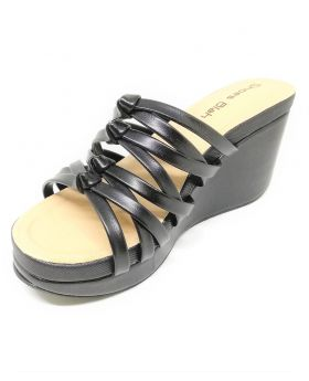 Black Artificial Leather Block-Heel Sandal for Women