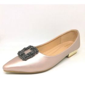Light Pink Artificial Leather Semi Heel Shoe for Women