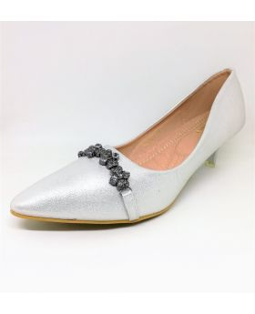 Silver Artificial Leather Semi Heel Shoe for Women
