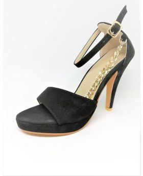 Black Artificial Leather Heel Pointed Sandal for Women