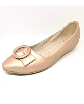 Light Pink Artificial Leather Flat Block Shoe for Women