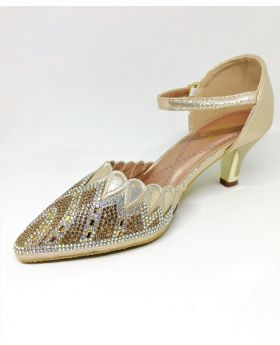 Stylish Golden Artificial Leather Semi Heel Shoe for Women