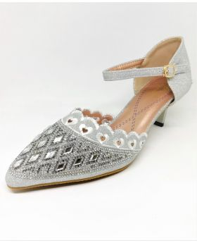Stylish Silver Artificial Leather Semi Heel Shoe for Women